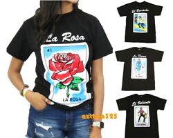 Mexican Loteria Unisex Black T Shirt Funny Small to 2XL $12.99