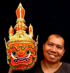 Mask Khon Thai Handmade Ramayana Pinwheel air Home Art Decor Collectible New