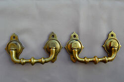 French Antique Bronze Pair Of Piano Handles Furniture Ornament Trunk 19th.c