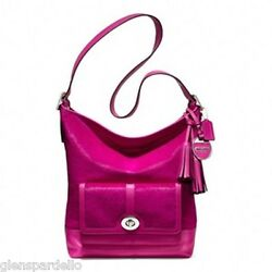 NWT COACH LEGACY  FUCHSIA HAIRCALF LARGE DUFFLE SHOULDER BAG PURSE F21158
