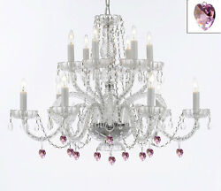 Murano Venetian Style All Empress Crystal Tm Chandelier With Pink Crystal