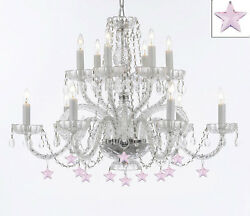 Murano Venetian Style All Empress Crystal Tm Chandelier With Stars