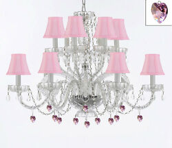 Murano Venetian Style All Empress Crystal Chandelier W/ Pink Crystals And Shades