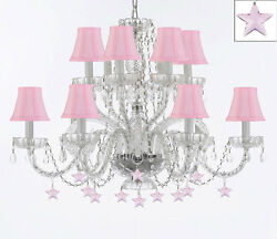 Murano Venetian Style All Empress Crystal Chandelier W/ Stars And Shades
