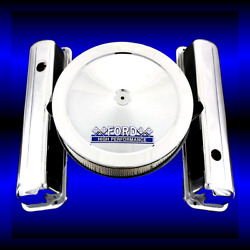 Chrome Valve Covers And Ford Hp Emblem Air Cleaner Fits Ford 352 360 390 427 428