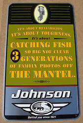 Vintage Johnson Outboard Motors Tin Sign - Catching Fish Advertisement Rare