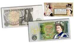 Queen Elizabeth Ii Colorized Bank Of England One Pound Note Rare And Limited