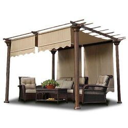 2pcs Patio 15.5x4and039 Pergola Canopy Replacement Cover Tan Uv20+ 180g W/ Valance
