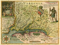 1627 Map of Virginia by John Smith Historic Vintage Style Wall Map 18x24