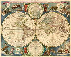 1695 Old World Historic Vintage Style Wall Map Poster 20x24