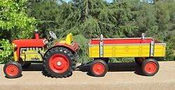 Vintage Tin Wind Up Toy Tractor And Trailer Zetor From Cz Works