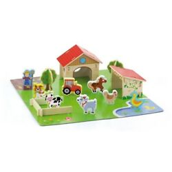 Pretend Farm House Scenery Barn Animals Shapes Set Educational Wooden Kids Toy
