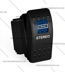Labeled Marine Contura Ii Rocker Switch Carling Lighted - Stereo-blue Lens