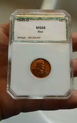 Rare1945-d Lincoln Wheat Cent 1c Penny M 68 S