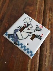 Chef Kitchen Adrienne Blum Enamel Double Light Switch Plate Cover Cook White
