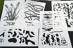 5pack Airbrush Camouflage Stencils Camo Duracoat 14 Wheat Tree Bark +more