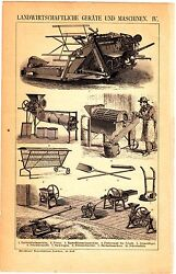 1882 Old Farm Instruments Machines, Agriculture Barrow, Tedder, Antique Print