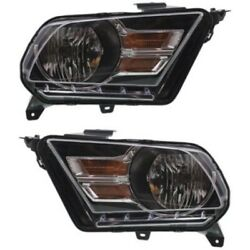 Headlight Set For 2010-2014 Ford Mustang Left And Right Chrome Housing 2pc