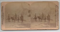 1894 Stereo Card By Strohmeyer And Wyman Of 4 People On Horseback In Yosemite