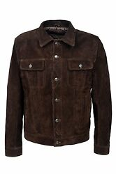 Trucker Menand039s Brown Suede 1280 Classic Real Cowhide Western Real Leather Jacket