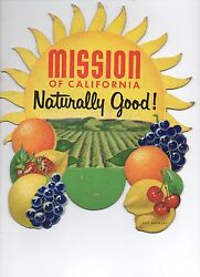 1930s Die Cut Bottle Topper Advertising Sign For Mission Soda Of California