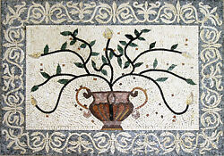 Abstract Plant Green Branches Flower Vase Marble Mosaic FL248