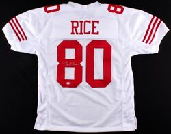 Jerry Rice Signed 49ers Jersey Beckett Coa 13andtimes Pro Bowl 1986andndash199619982002
