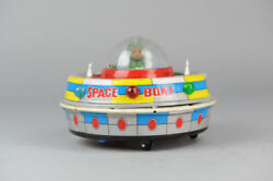 Antique Red China Tin Toyme780 Space Ufo Astronaut Rocket Shanghai Mf Ms Old