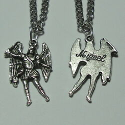 Archangel St Michael Angel Charm Miguel Medal And Chain Soldiers Police Officers
