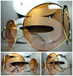 CLASSIC VINTAGE RETRO Style SUNGLASSES Unique Round Gold Frame Brown