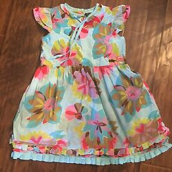 Oilily Girls Blue Floral Dress Sz 128 7 8 $39.99
