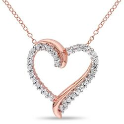 Pink Sterling Silver 3/4 Ct Tgw White Sapphire Heart Pendant Necklace 18