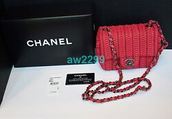 NWT $3200 AUTH RARE CHANEL 16C QUILTED FLAP BAG RED BOX DUSTBAG CARD CROSSBODY