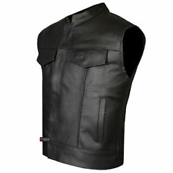 Soa Menand039s Leather Vest Anarchy Motorcycle Biker Club Concealed Carry Outlaws