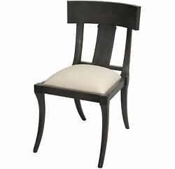 Set Of Two New 21 W Dining Chair Mahogany Wood Hand Made White Canvas Unique