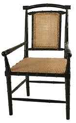Set Of Two Christopher 22 W Bamboo Arm Dining Chair Caning Hand Rubbed Black