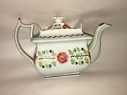 La2 Staffordshire Pearlware Teapot Hand Painted Floral Design Nice Form Ca. 1820