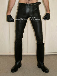 New Black Leather Jeans Trousers Pants German Builders Style With 2 Zips