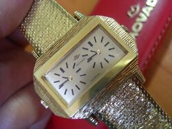 Rare 60's Movado Dual Time Zone Double Dial Manual Gold Plated 40m + Box  5343