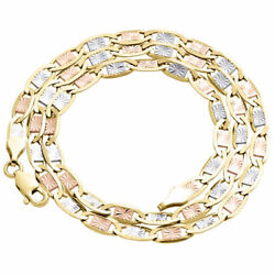 Real 10k Tri-tone Gold Solid Valentino Link Chain 4mm Necklace 16 - 30 Inches