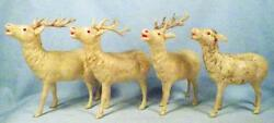 4 Reindeer Celluloid Toys Vintage Christmas Display Large Mica Glitter 1 As Is