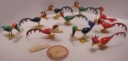 10 Old Unusual Bird Placecard Holders Rare Art Deco Plastic Party Favors 1930s