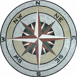 Compass Pride Round Medallion Pool Home Decor Marble Mosaic Md1114