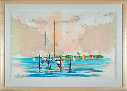Kerry Hallam - Pillsbury Sound mixed media on nautical chart Framed