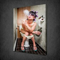 Girl Smoking Drinking On Toilet Canvas Wall Art Print Picture Ready To Hang