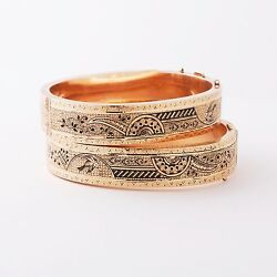 Antique Victorian Pair Of 10k Bracelets Late 1800and039s