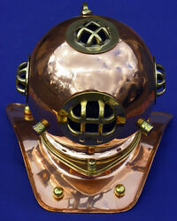 Divers Helmet Brass With Copper Finish New Antique Reproduction 8 X 6
