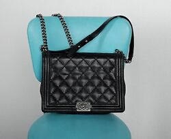 AUTHENTIC CHANEL LARGE BOY FLAP CROSS BODY BAG BLACK