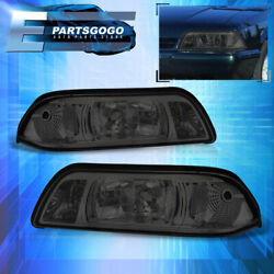 For 87-93 Mustang Replacement 1pc Head Lights Pair + Corner Lamp Assembly Smoked