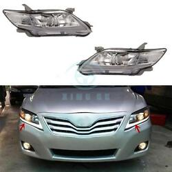 LED DRL Headlights Chrome Housing Headlight Assembly For Toyota Camry 2010-2011